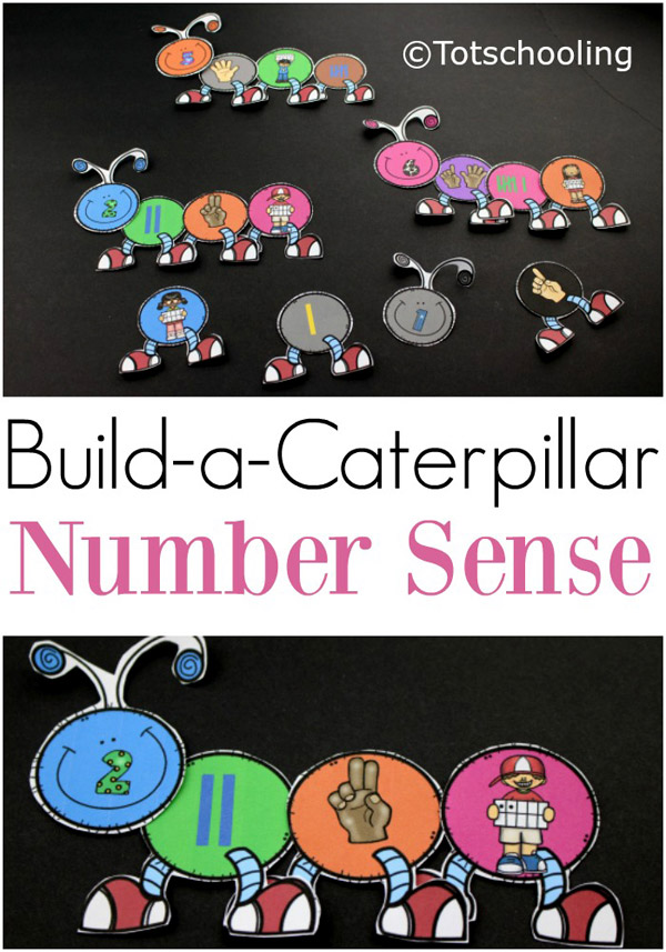 FREE printable Caterpillar themed math activity for pre-k and kindergarten kids to practice number sense and counting with a Spring theme. Fun build-a-caterpillar activity for matching numbers and quantities.