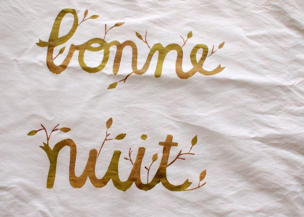 Good Night Bonne Nuit Freezer Paper Stenciled Pillowcases