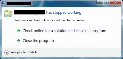 Lỗi has stopped working