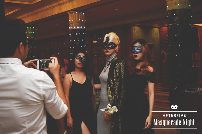 Brunei Style Blogger May Cho with Min of Discofissh and Phoebe Chok at the After Five Masquerade Night