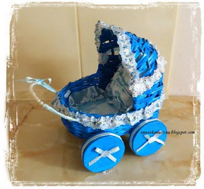 wózek, papierowa wiklina