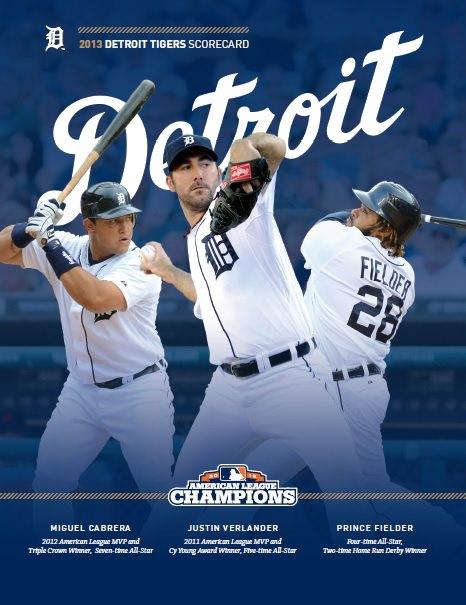 Johns Big League Baseball Blog 2013 Detroit Tigers Scorecard