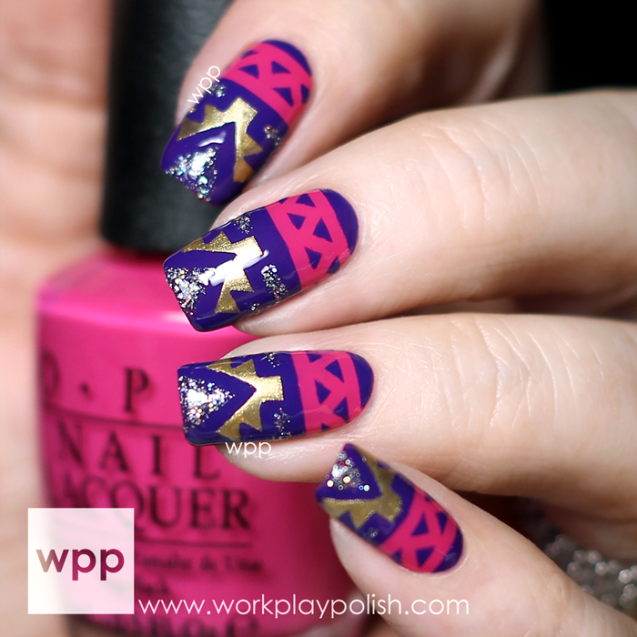 Tribal Nail Art with OPI Nordic, Ford Mustang and KBShimmer Nail Vinyls