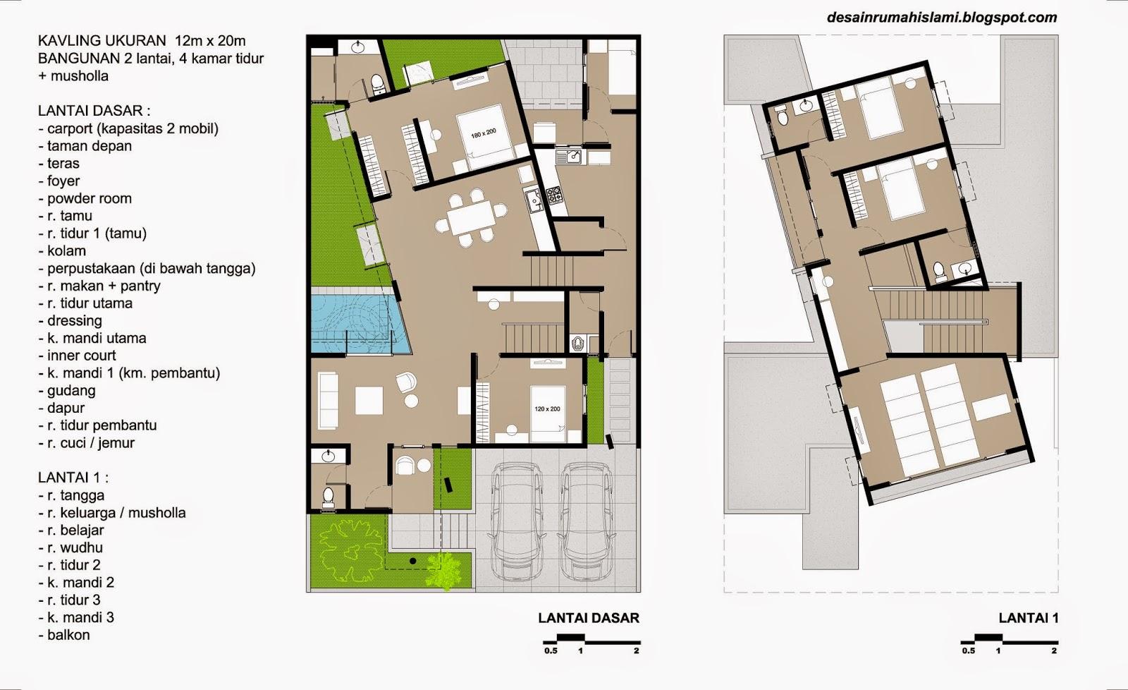 Desain Rumah  2 Lantai dengan 4 Kamar Tidur Musholla pada