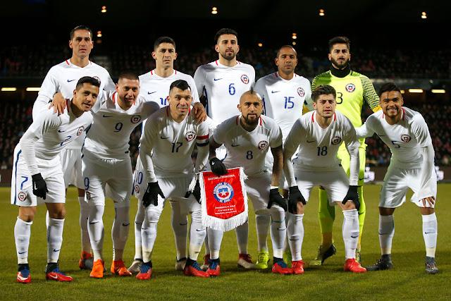 Formación de Chile ante Dinamarca, amistoso disputado el 27 de marzo de 2018