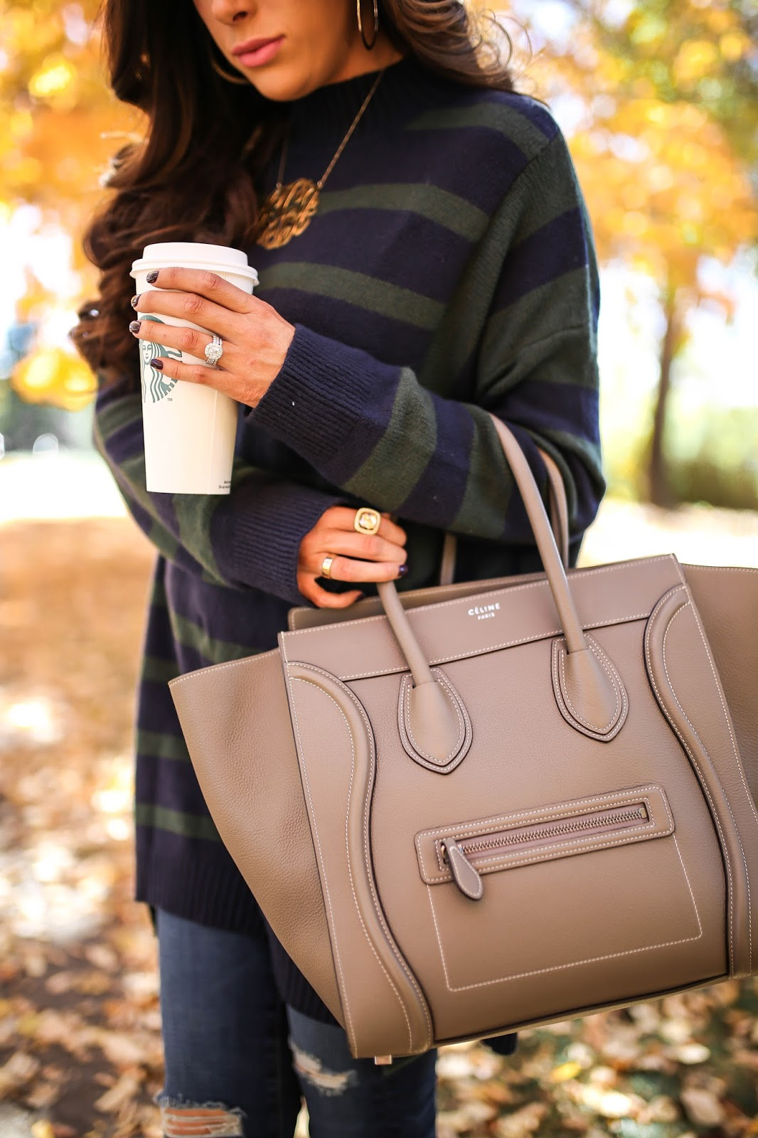Emily Gemma, The sweetest thing blog, BP striped oversized sweater nordstrom, AG ripped skinny jeans, celine mini luggage in taupe. celine sunglasses catherine in tortoise, Blake sam edelman booties, david yurman gold albion ring pink stone, oversized gold monogram necklace, love always monogram necklace, Nordstrom skinny jeans with rips, nordstrom fall sweaters, nordstrom brown booties, best brown booties for fall 2016, cutest brown booties for fall, how to style brown booties for fall, pinterest fall fashion 2016, pinterest fall outfits, pinterest fall OOTDs, popular travel bloggers, travel bloggers in Denver, emilyanngemma, pinterest fall fashion, fall outfit ideas, fall outfit inspiration with booties pinterest