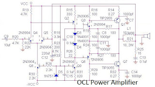 TIP2955 and TIP3055  70W OCL Power amplifier