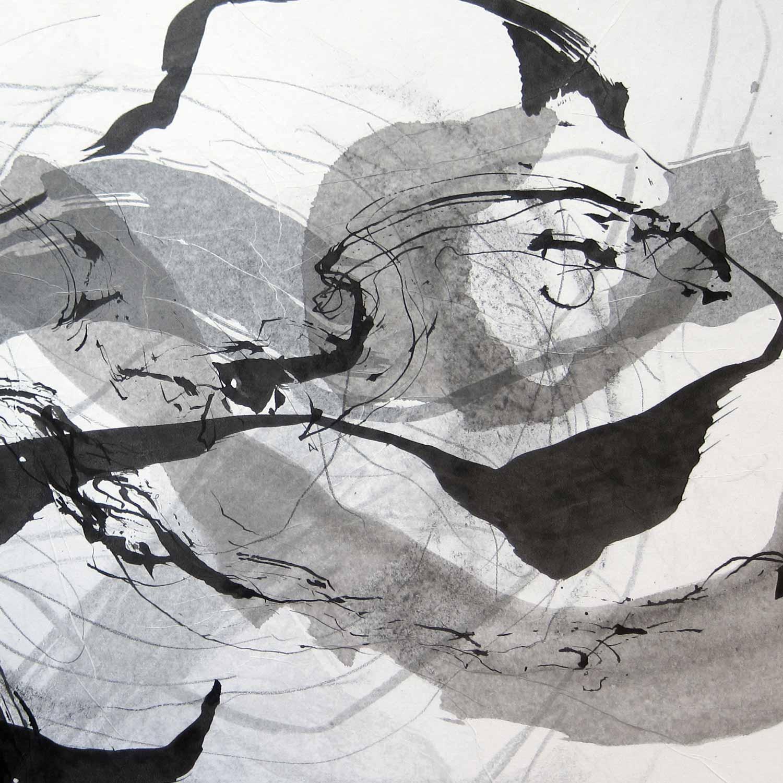 Encre de Chine, lavis et graphite sur papier de soie marouflé sur papier, 35 x 35 cm, 5 avr. 18  - © Annik Reymond