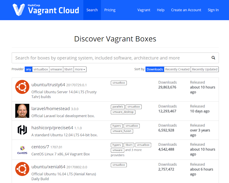Vagrant Cloud 홈페이지