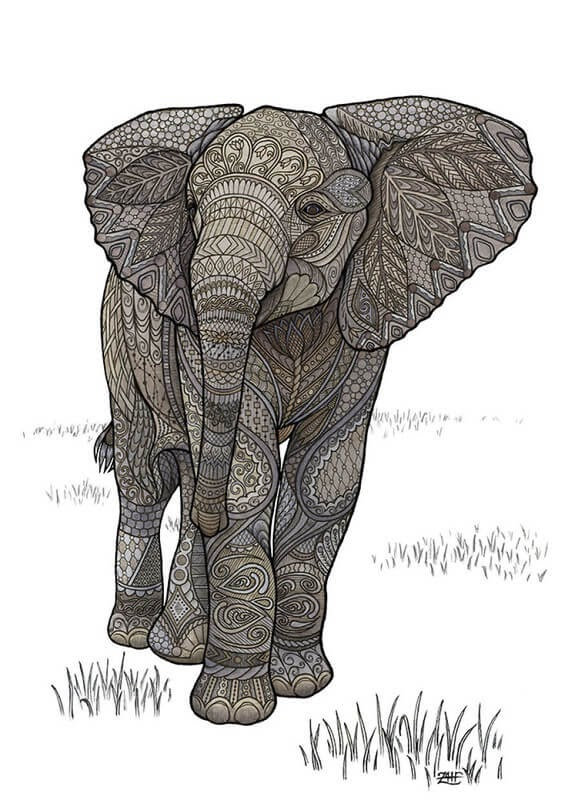 01-Elephant-Z-H-Field-Distinctive-Animal-Drawings-and-Paintings-www-designstack-co