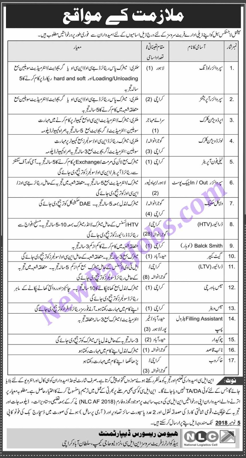 National Logistic Cell NLC Govt Jobs - Today 20 Oct 2018