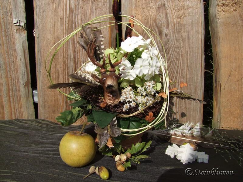 Herbststrauß mit grünen Hortensien