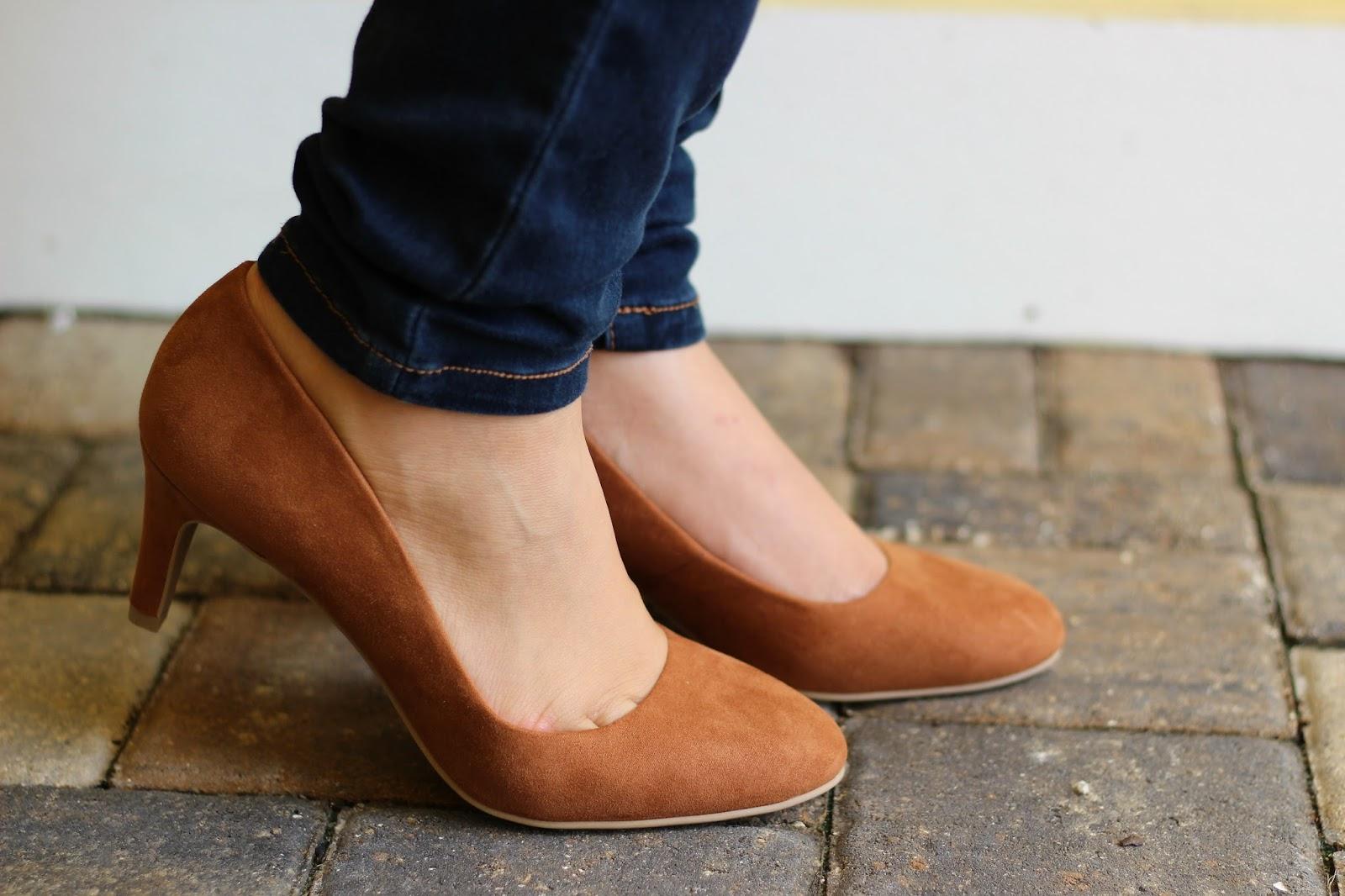 Payless cognac suede heels