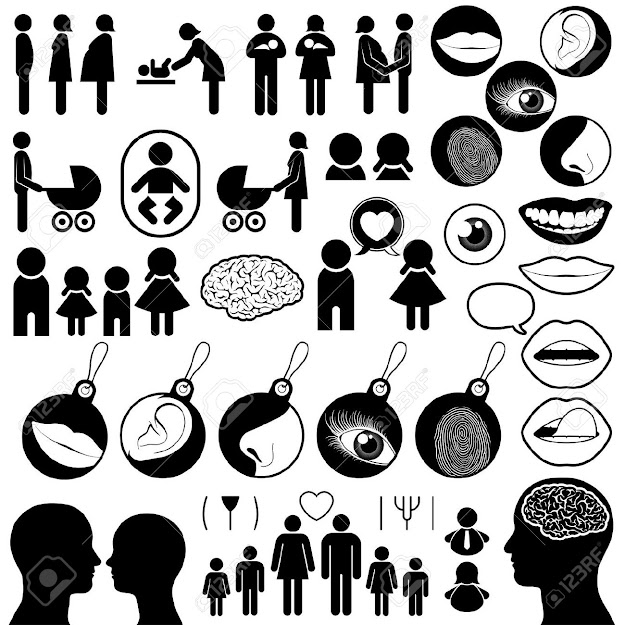 Collection Of Human Related Icons Enpassing Birth Love Family And The  Senses Vector