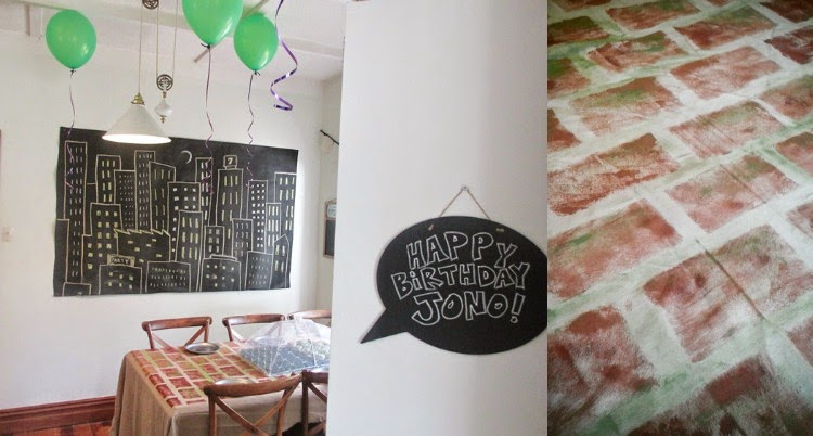 TMNT Party - chalkboard skyline backdrop and stencilled brick tablecover
