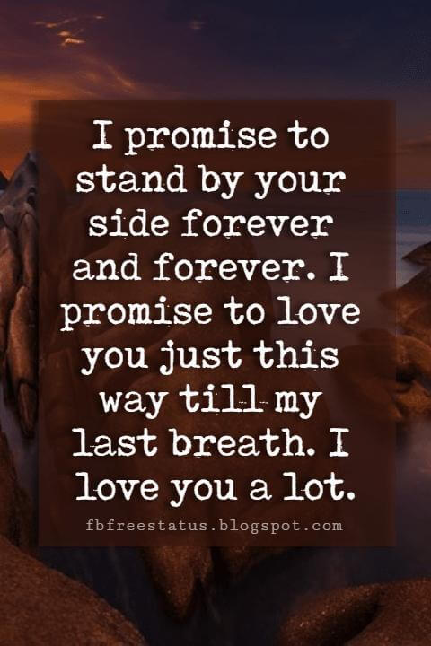 cute i love you sayings, I promise to stand by your side forever and forever. I promise to love you just this way till my last breath. I love you a lot.