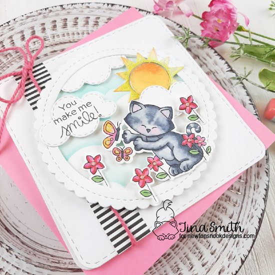 Cat Chasing Butterfly Card by Tina Smith | Newton's Flower Garden Stamp Set, Sky Scene Builder Die Set, Frames Squared Die Set and Circle Frames Die Set by Newton's Nook Designs #newtonsnook #handmade