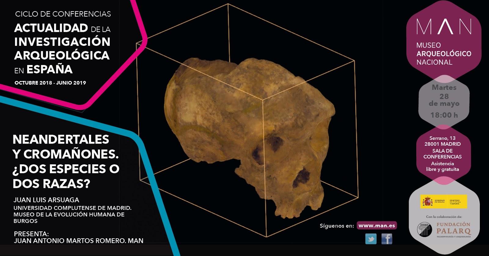 Conferencia 'Neandertales y Cromañones', J.L. Arsuaga, Museo Arqueológico Nacional.