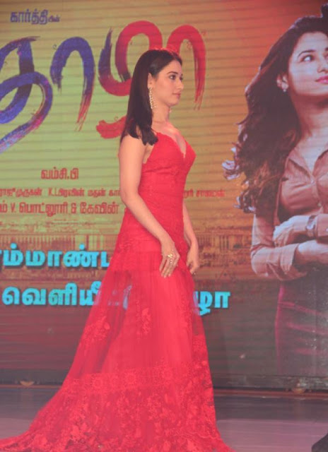 Tamannaah Bhatia in Red Lacey Gown by Yolan Cris