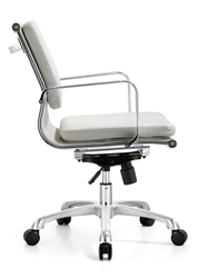 White Leather Hendrix Mid Back Office Chair