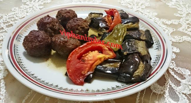 Fırında Misket Köfteli Patlıcan