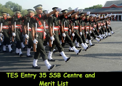 Indian army TES Entry 35 SSB Centre and Merit List