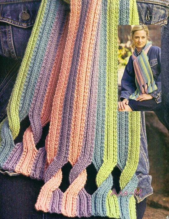 Patron Crochet Bufanda Tiras Trenzadas