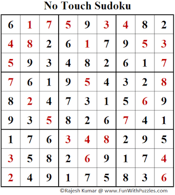 Answer of No Touch Sudoku Puzzle (Fun With Sudoku #388)