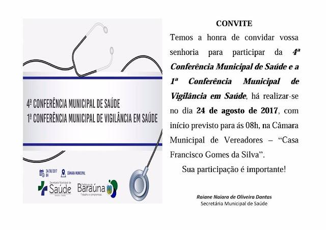 A Secretaria de Saúde de Baraúna realiza a 4ª Conferência Municipal de Saúde nesta quinta, 24