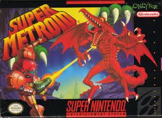 Portada del cartucho de Super Metroid para la Super Nintendo (1991). El dibujo muestra a SAmus disparando a una especie de dragón alienígena