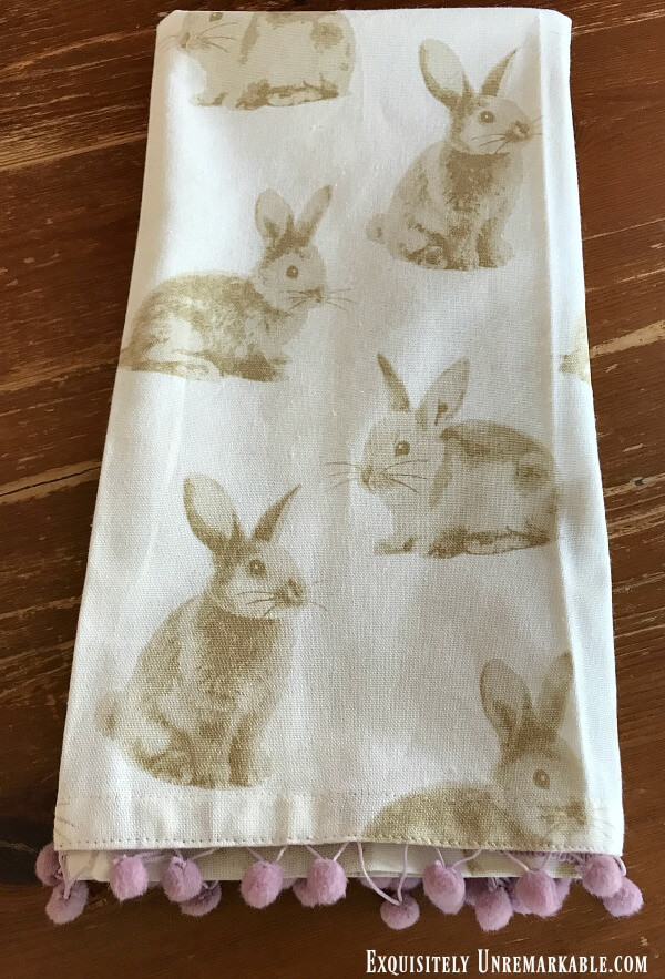 Easter Bunny Dish Towel With Ball Fringe