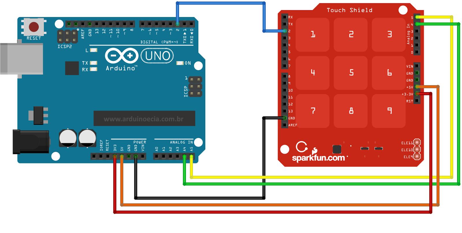 Circuito Teclado Touch - Arduino Uno