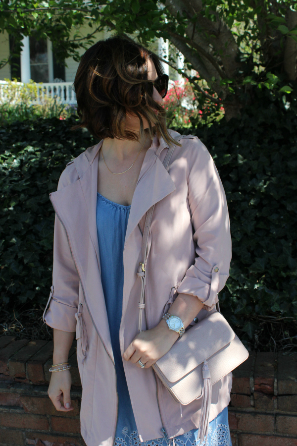 bohoblu, spring style, how to dress for spring, chambray dress, blush jacket