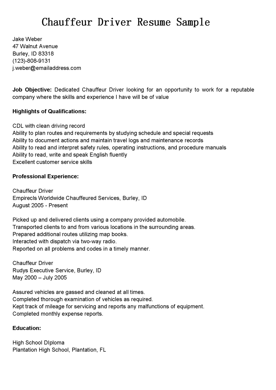 Driver Skills Resume Driver Resumes Chauffeur Driver Resume Sample