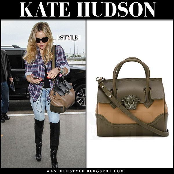Kate Hudson with brown khaki leather tote versace palazzo what she wore