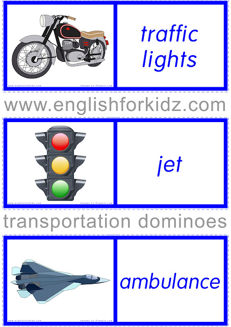 Dominoes ESL game for transport vocabulary