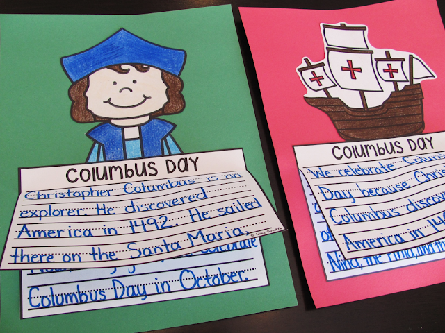 Columbus Day writing activities that are no prep - kids just write color cut and glue to show what they know about Christopher Columbus