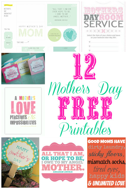 12 great Mothers Day Printables that you can use for free at ourthriftyideas.com