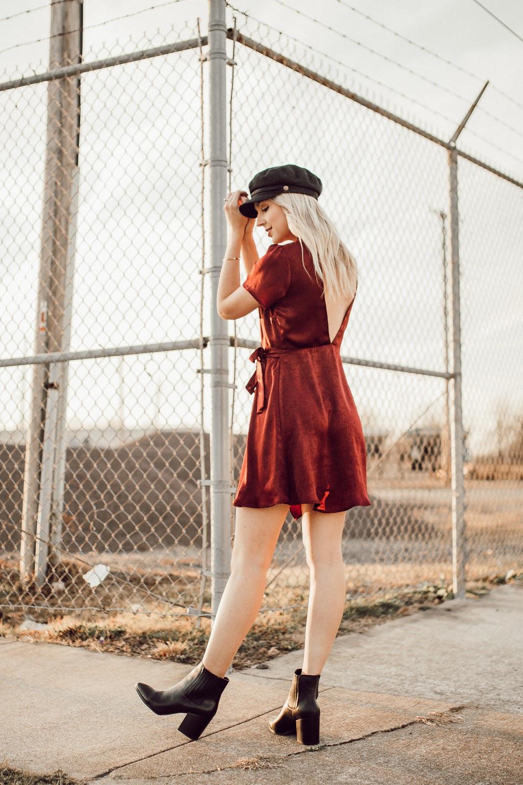 low back satin dress