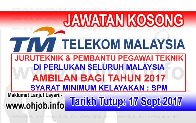 Jawatan Kerja Kosong TM - Telekom Malaysia Berhad logo www.ohjob.info september 2017