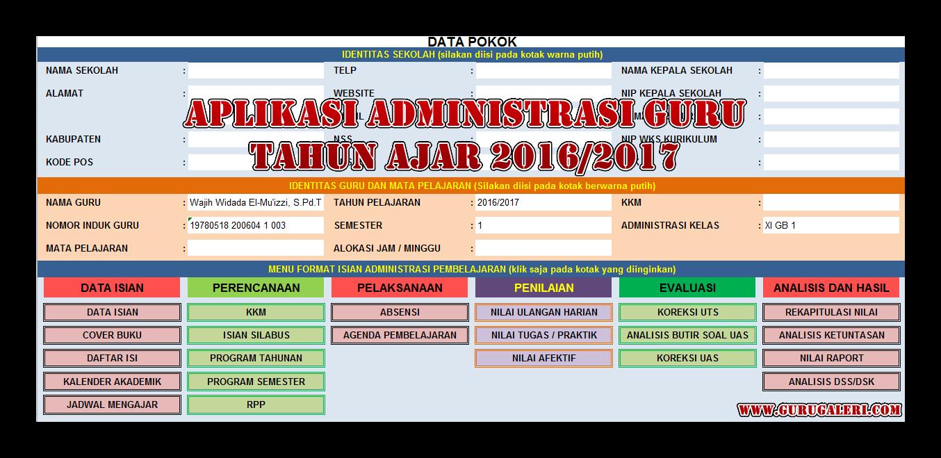 Aplikasi Pembuat Administrasi Guru Tahun Ajar 2016 2017