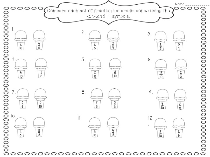 Number Names Worksheets comparing fractions worksheet with pictures : It's Fraction Time | Fancy Free in Fourth | Bloglovin'