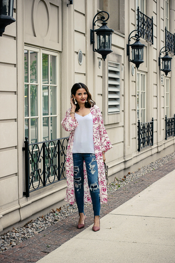 Pink Floral Kimono Distressed Jeans Philip Lim Pashli Mini