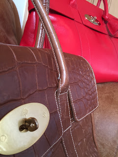 Mulberry Bayswater in Printed Oak NVT and Red Glossy Goat