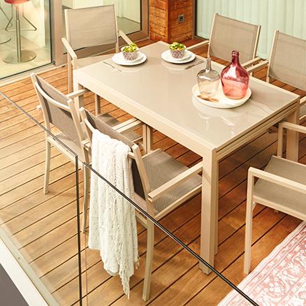 Mesas y sillas terraza cool mesa silla y silln de - Leroy merlin cristal mesa ...