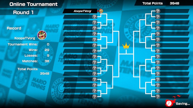Mario Tennis Aces pre-launch online tournament round 1 results record Bowser wins losses