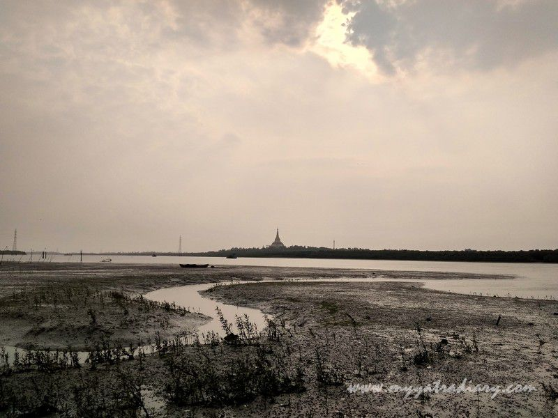 Global Vipassana Pagoda as seen from the Gorai Creek in Mumbai
