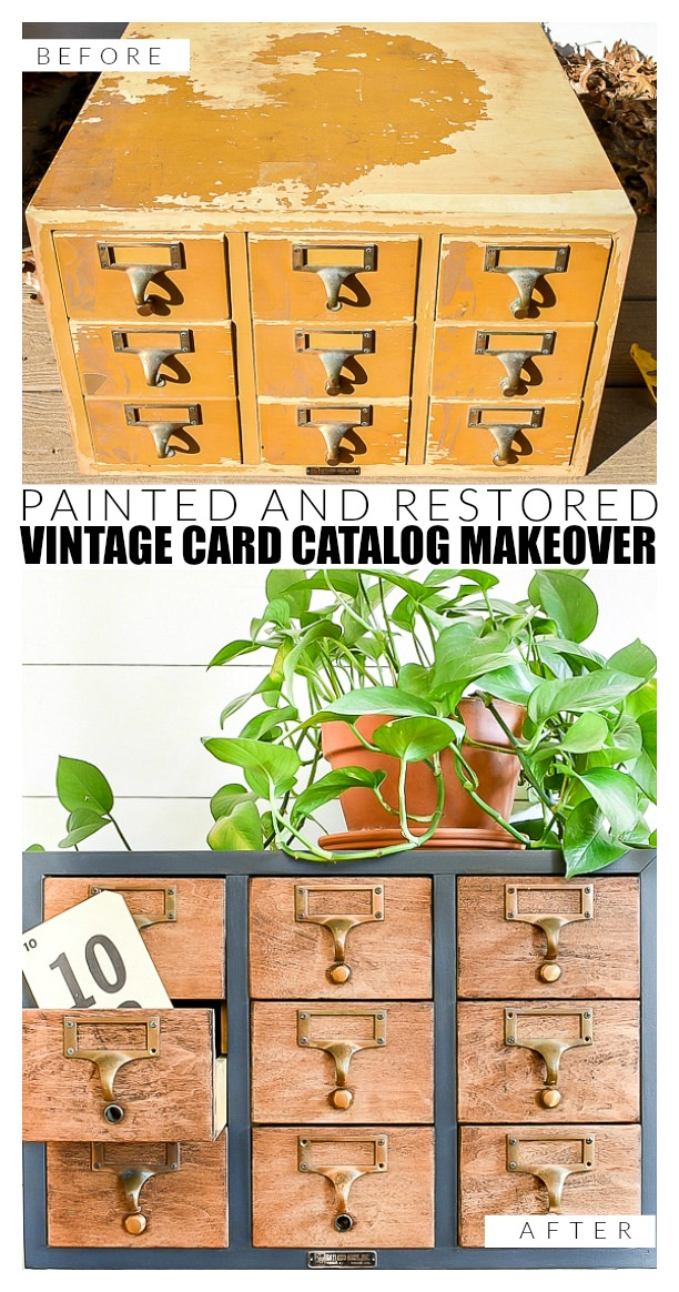 Before and after of a repaired vintage card catalog