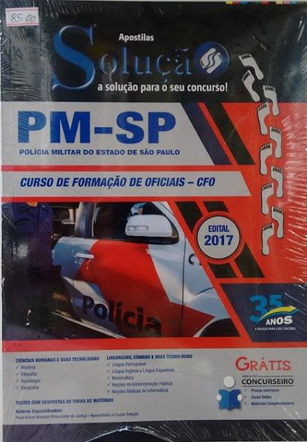 Concurso PM-SP - salário R$2.988,05 , compre sua apostila na Banca do Vanildo em Registro-SP
