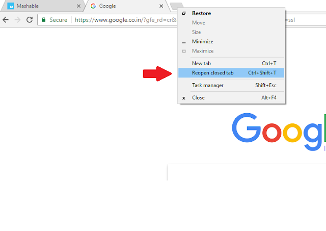How to open or restore recently closed tabs in Google Chrome